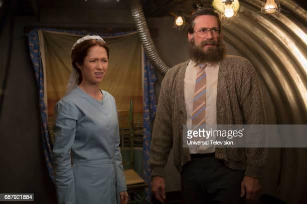"Kimmy Gets Divorced?!"" Episode 301 -- Pictured: Ellie Kemper as Kimmy Schmidt, Jon Hamm as Reverend Richard Wayne Gary Wayne --"