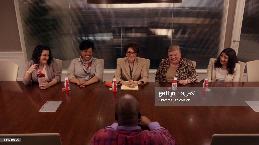 SCHMIDT -- 'Kimmy Googles the Internet!' Episode 311 -- Pictured: (l-r) Desiree Rodriguez as Linda S., Angela Grovey as Linda D., Andrea Martin as Linda P., Mary Stout as Linda J., Lori Faiella --