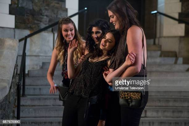 SCHMIDT 'Kimmy is a Feminist' Episode 306 Pictured Sonya Harum as Grace Olivia Khoshatefeh as Paige Dylan Gelula as Xanthippe Lannister Voorhees...