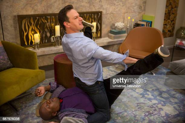 SCHMIDT 'Kimmy is a Feminist' Episode 306 Pictured Tituss Burgess as Titus Andromedon Josh Charles as Duke Snyder