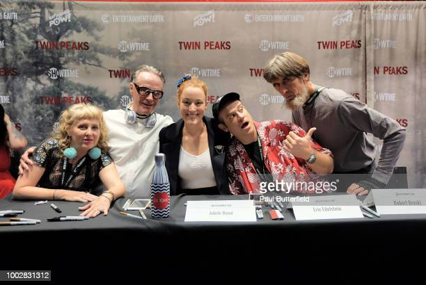 Chrysta Bell Amy Shiels and Mädchen Amick attend 'Twin Peaks' autograph signings and fan events during ComicCon International 2018 at San Diego...