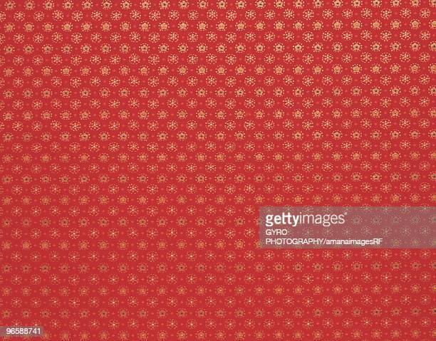 Kimono fabric,  red with gold stars