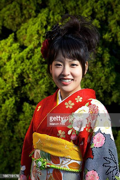 kimono portrait - yonago stock photos and pictures