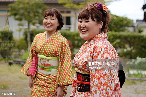 kimono smiles - yonago stock photos and pictures