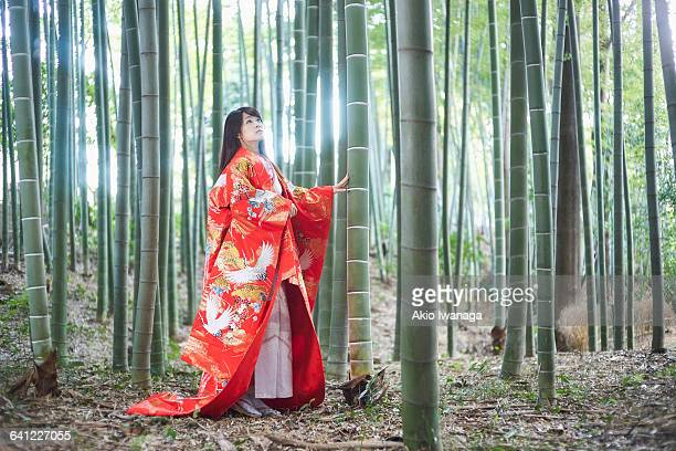 Kimono woman of you are in a bamboo forest