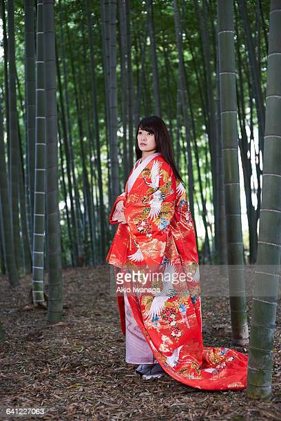 kimono woman of you are in a bamboo forest - akio iwanaga ストックフォトと画像