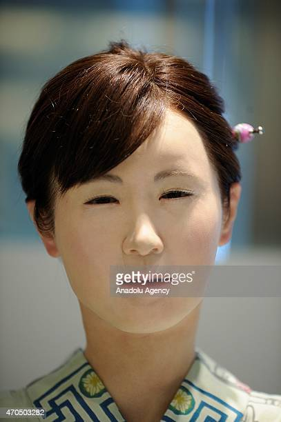 A kimonoclad robot named Aiko Chihira developed by Toshiba Corp characterized with humanlike features blinks and synthesized speech is seen at...
