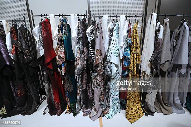 Kimonos are hanged at backstage ahead of the JOTARO SAITO show as part of Mercedes Benz Fashion Week TOKYO 2015 A/W on March 19 2015 in Tokyo Japan