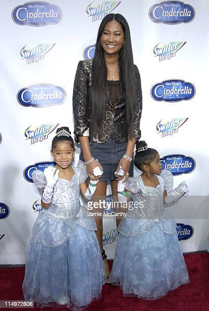 "Kimora Lee Simmons and Children during Swiffer Wetjet Presents the ""Cinderella"" DVD Release and Royal Ball - Red Carpet at Ziegfeld Theatre in New..."