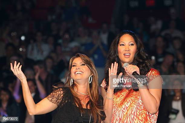 Kimora Lee Simmons and Loren Ridinger speak at the Market America Leadership School at the American Airlines Arena on February 8 2008 in Miami Florida