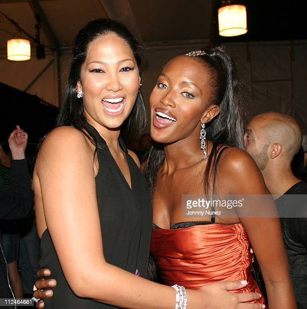 Kimora Lee Simmons and Naomi Campbell during MercedesBenz Fashion Week Spring 2004 Baby Phat Backstage at Gertrude Tent Bryant Park in New York City...