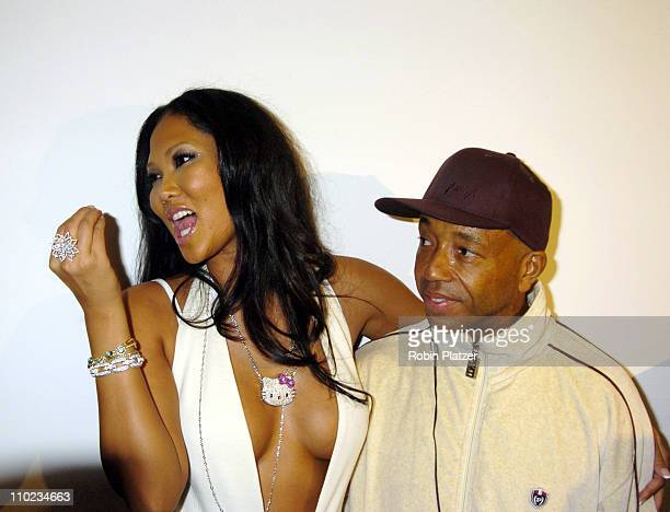 Kimora Lee Simmons and Russell Simmons during Olympus Fashion Week Fall 2005 Baby Phat at Skylight in New York New York United States