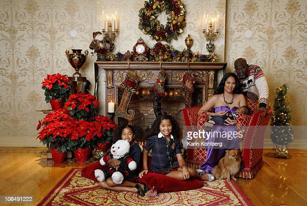 Kimora Lee Simmons Creative director of clothing line Baby Phat and actor Djimon Hounsou with daughters Ming Lee Aoki Lee and son Kenzo Lee at a...