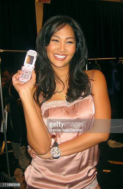 Kimora Lee Simmons during MercedesBenz Fashion Week Fall 2003 Collections Baby Phat Front Row and Backstage at Bryant Park in New York City New York...