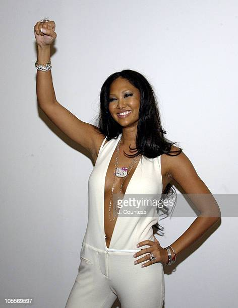 Kimora Lee Simmons during Olympus Fashion Week Fall 2005 Baby Phat Front Row and Backstage at Skylight Studios in New York City New York United States