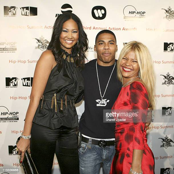 Kimora Lee Simmons Nelly and Misa HiltonBrym during HipHop Summit Presents 3rd Annual Action Awards Arrivals at Chelsea Piers in New York City United...