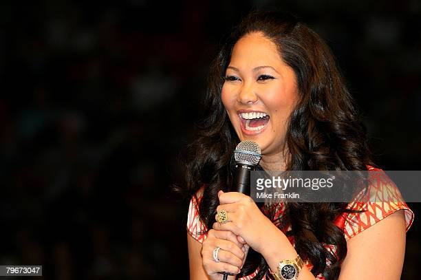 Kimora Lee Simmons speaks at the Market America Leadership School at the American Airlines Arena on February 8 2008 in Miami Florida