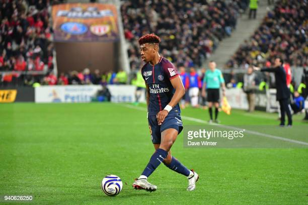 Kimpembe Presnel of PSG during the Final of the French League Cup between Paris Saint Germain and AS Monaco on March 31 2018 in Bordeaux France