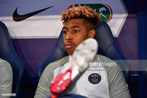 Kimpembe Presnel of PSG on the bench during the French Cup Semi Final match between Caen and Paris Saint Germain on April 18 2018 in Caen France