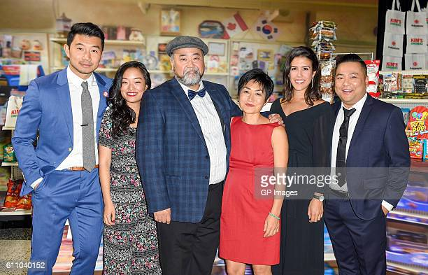 Kim's Convenience cast LR Simu Liu Andrea Bang Paul SunHyung Lee Jean Yoon Nicole Power and Andrew Phung attend the CBC World Premiere VIP Screening...