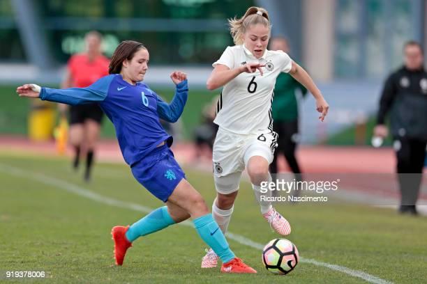 KimSophie Baade of Girls Germany U16 challenges Bondil van den Heuvel of Girls Netherllands U16 during UEFA Development Tournament match between U16...
