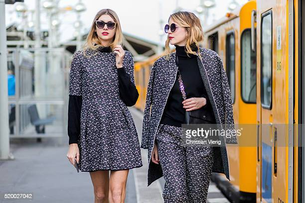 Kimyana Hachmann wearing a black white Steinrohner dress with graphic print and sunglasses and Leonie Eberhard wearing a black white Steinrohner...