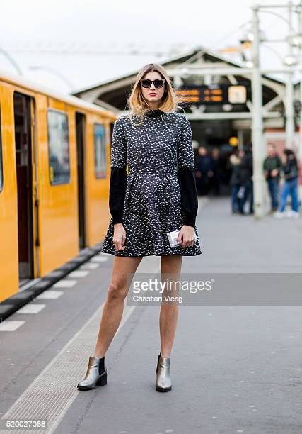Kimyana Hachmann wearing a black white Steinrohner dress with graphic print and sunglasses on April 9 2016 in Berlin Germany