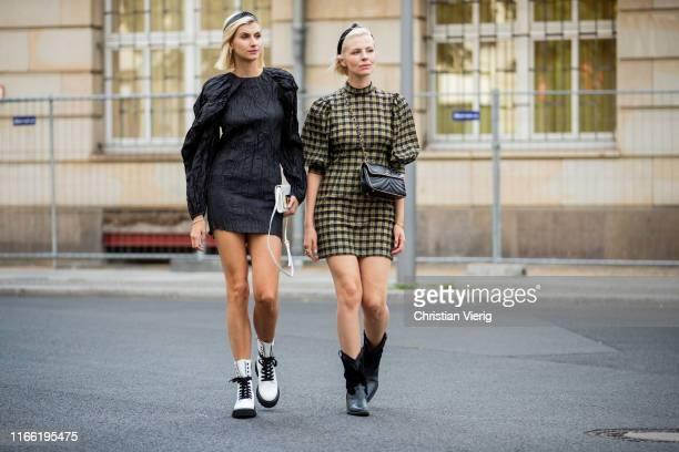 Kimyana Hachmann wearing black dress Rotate Birger Christensen white boots Kennel und Schmenger white Fendi bag and Carolin Laufenburger wearing...