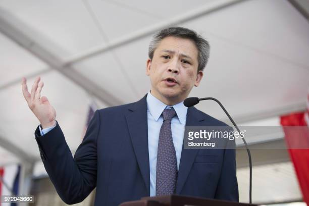 Kin Moy, director of the American Institute in Taiwan, speaks during a dedication ceremony for the institute's new complex in Taipei, Taiwan, on...