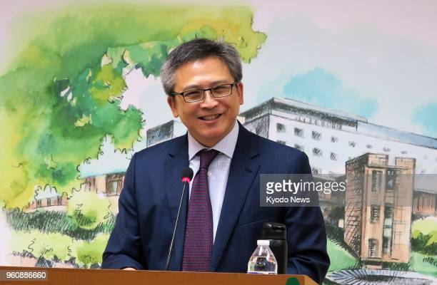 Kin Moy head of the American Institute in Taiwan the de facto US consulate in lieu of formal diplomatic ties with Taipei talks to reporters in Taipei...