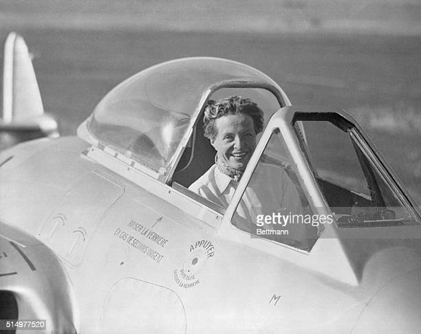 Kin of French President Sets New Air Speed Record. Toulouse, France: Mrs. Jacqueline Auriol, comely daughter-in-law of Frech President Vincent...