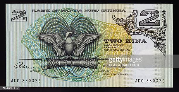 Kina banknote, 1970-1979, obverse, bird of paradise. Papua New Guinea, 20th century.