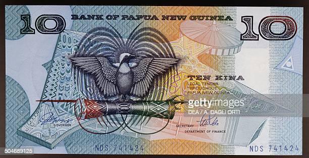 Kina banknote, 1980-1989, obverse, bird of paradise. Papua New Guinea, 20th century.
