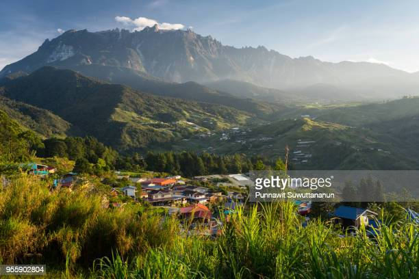 kinabalu mountain massif in a morning sunrise, boneo island, malaysia - malaysia stock pictures, royalty-free photos & images