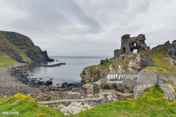 kinbane head, county antrim - castle stock photos and pictures