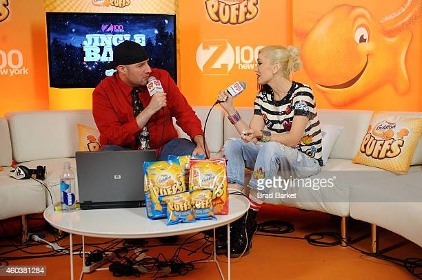 Kincaid speaks with Gwen Stefani backstage at iHeartRadio Jingle Ball 2014 hosted by Z100 New York and presented by Goldfish Puffs at Madison Square...
