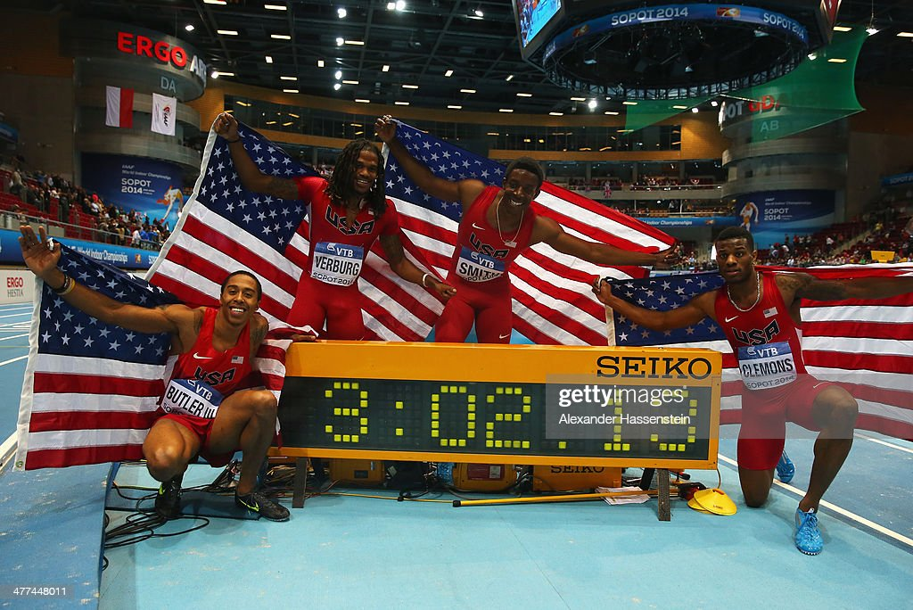 Kind Butler III, David Verburg, Calvin Smith and Kyle Clemons of the United States pose after winning the gold medal in a new indoor world record time after the Men's 4x400m relay final during day three of the IAAF World Indoor Championships at Ergo Arena on March 9, 2014 in Sopot, Poland.
