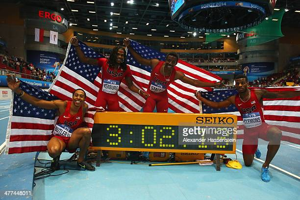 Kind Butler III David Verburg Calvin Smith and Kyle Clemons of the United States pose after winning the gold medal in a new indoor world record time...