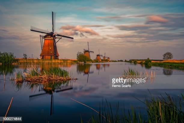 kinderdijk, holland - dutch windmill stock photos and pictures