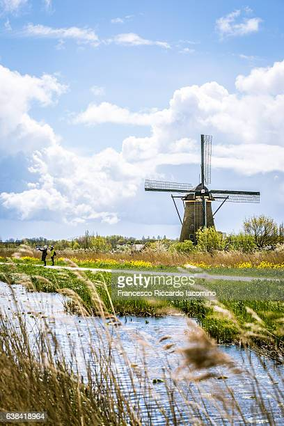 kinderdijk, netherlands, landscape and windmills - iacomino netherlands foto e immagini stock