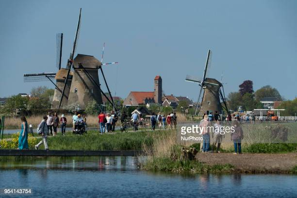 Kinderdijk windmills landmark in The Netherlands during a sunny day. Kinderdijk is a mill network in the province of South Holland near Rotterdam...