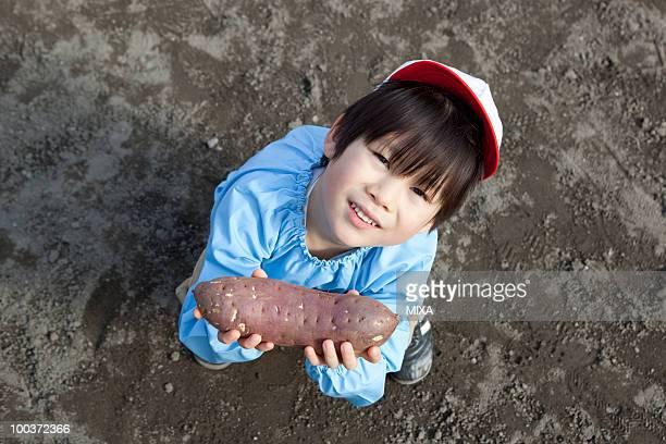 Kindergarten Boy Holding Sweet Potato