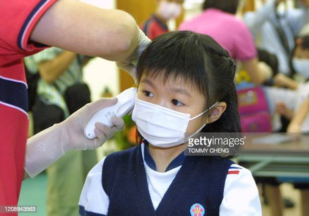 Kindergarten student has her temperature checked by a teacher as the first day of kindergarten classes resume, 19 May 2003, at the Hong Kong Soka...