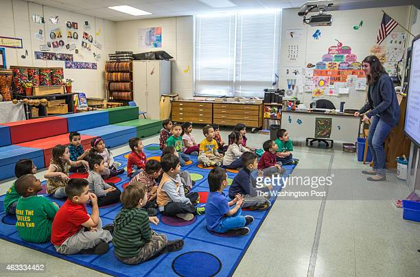 Kindergarten students at Guilford Elementary school listen to music teacher Melinda Windsor February 6 2015 The school system in Loudoun County one...
