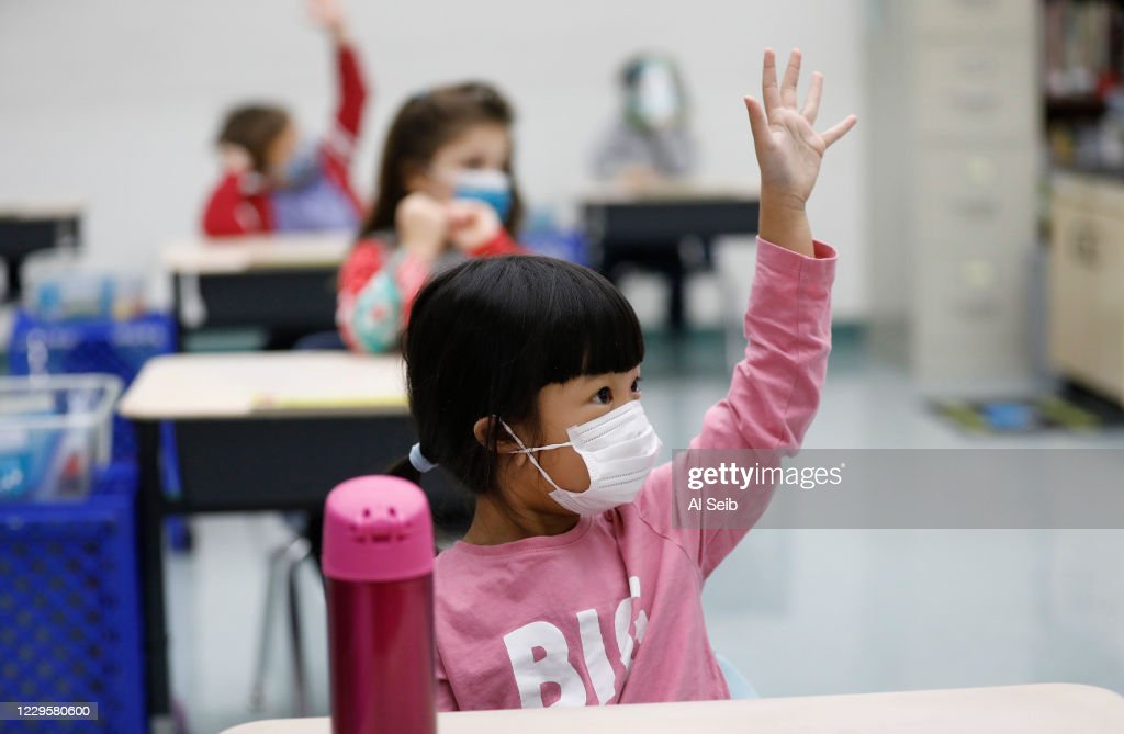 Lupine Hill Elementary School in Calabasas as one of the first elementary schools to open up under in L.A. County. : News Photo