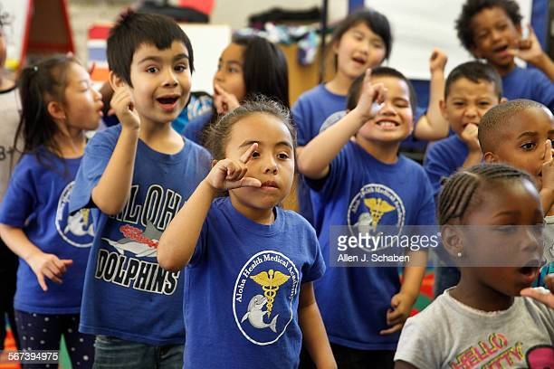 Kindergarten students recite nutrition chants at Aloha Health Medical Academy in Lakewood Friday April 4 2014