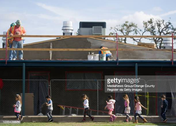 Kindergartners at Jack Weaver Elementary walk past construction on their way back to their classroom after recess The Los Alamitos school has been in...