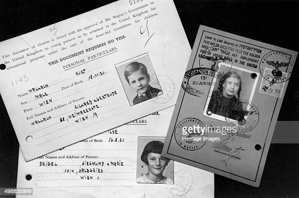 Kindertransport documents, c1939. The CBF , discovered these documents in 1994. They show photographs and details for three children who were brought...