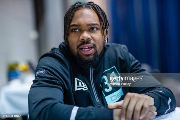 Kindle Vildor #DB34 of the Georgia Southern Eagles speaks to the media on day four of the NFL Combine at Lucas Oil Stadium on February 28, 2020 in...