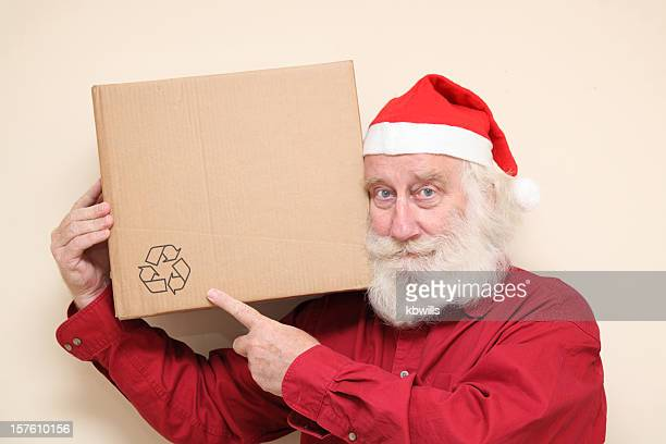 kindly happy  man with beard - santa recycles christmas - santa face stock pictures, royalty-free photos & images